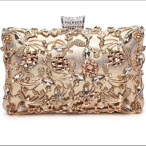 Handbags - Gold Crystal Evening Clutch